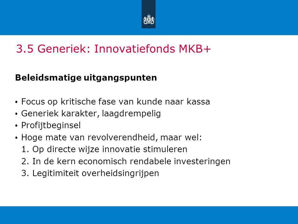 3.5 Generiek: Innovatiefonds MKB+