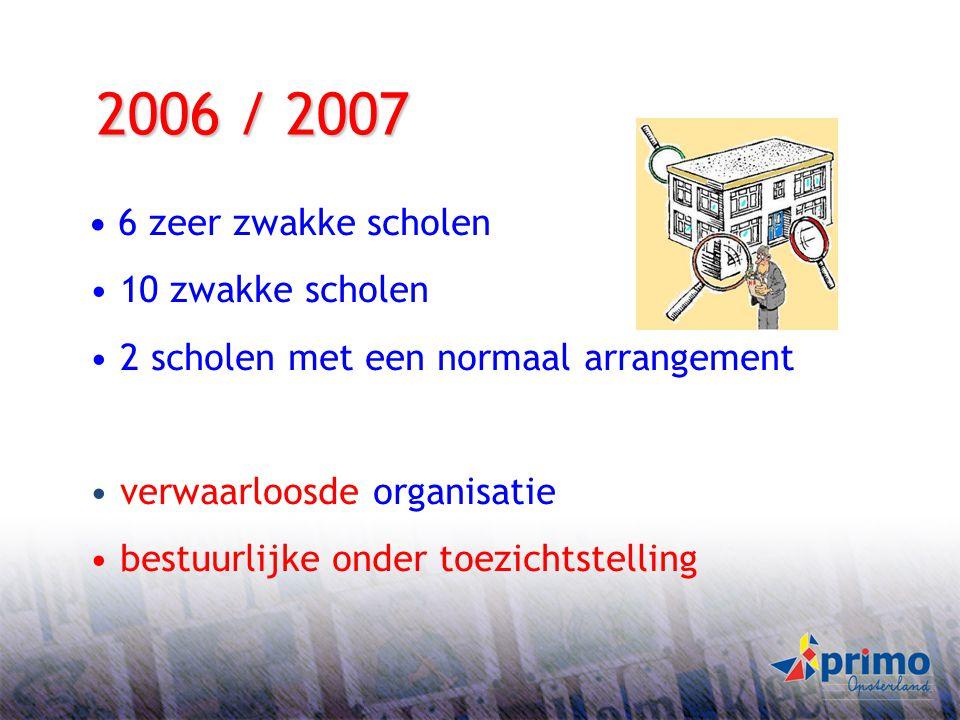 2006 / 2007 10 zwakke scholen 2 scholen met een normaal arrangement