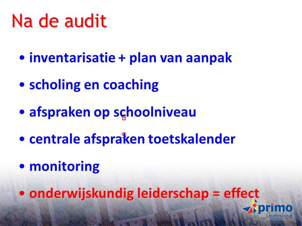 Na de audit inventarisatie + plan van aanpak scholing en coaching