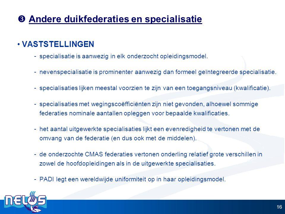 Andere duikfederaties en specialisatie