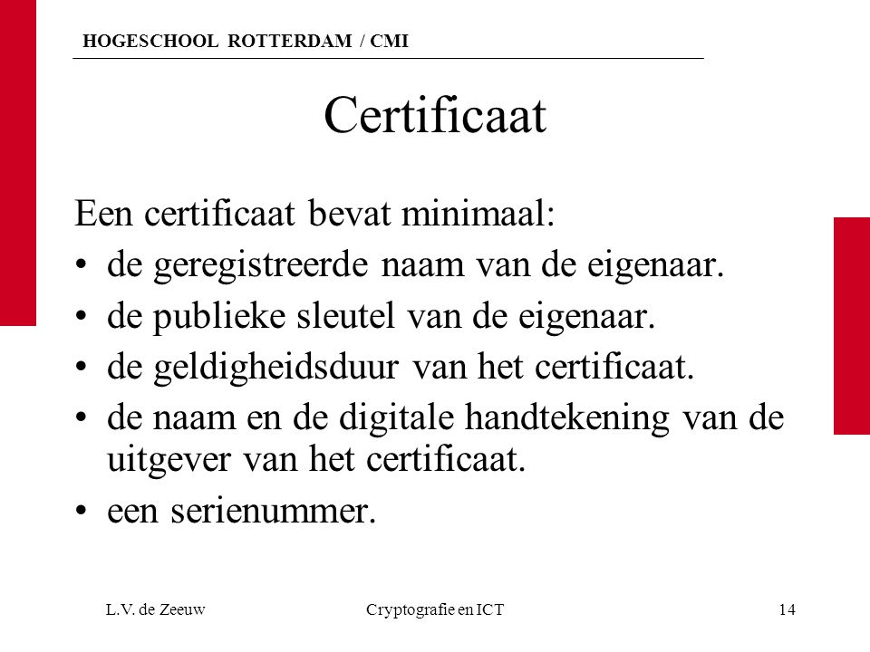 Certificaat Een certificaat bevat minimaal:
