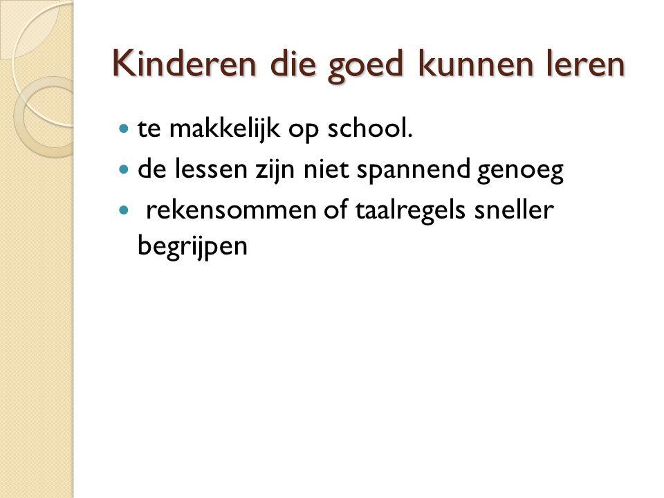 Kinderen die goed kunnen leren