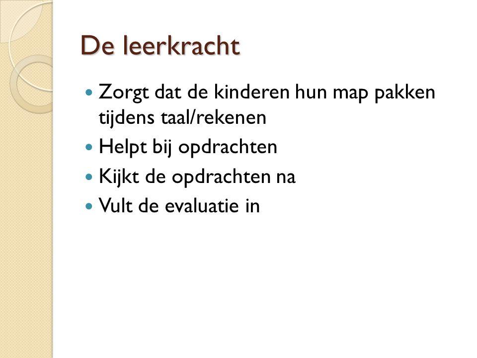 De leerkracht Zorgt dat de kinderen hun map pakken tijdens taal/rekenen. Helpt bij opdrachten. Kijkt de opdrachten na.