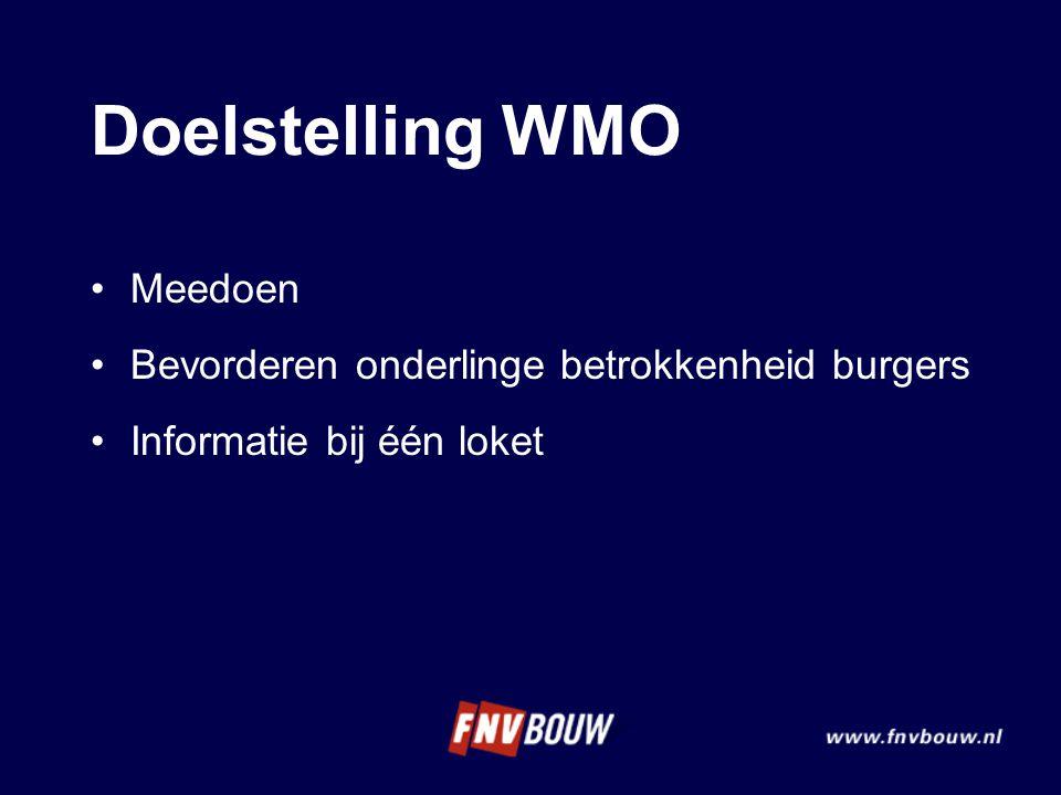 Doelstelling WMO Meedoen Bevorderen onderlinge betrokkenheid burgers