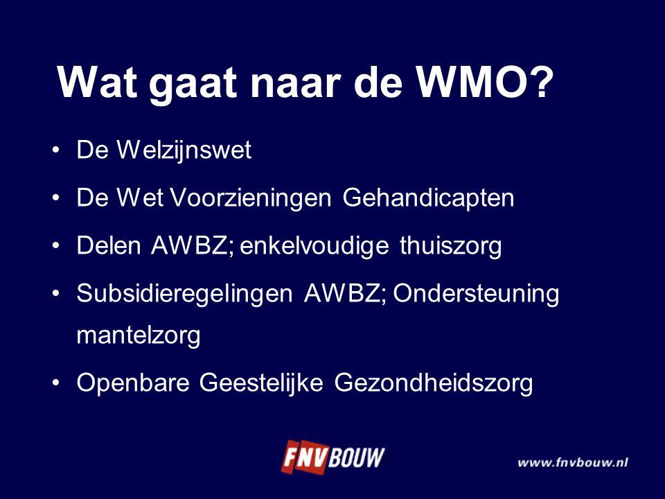 Wat gaat naar de WMO De Welzijnswet