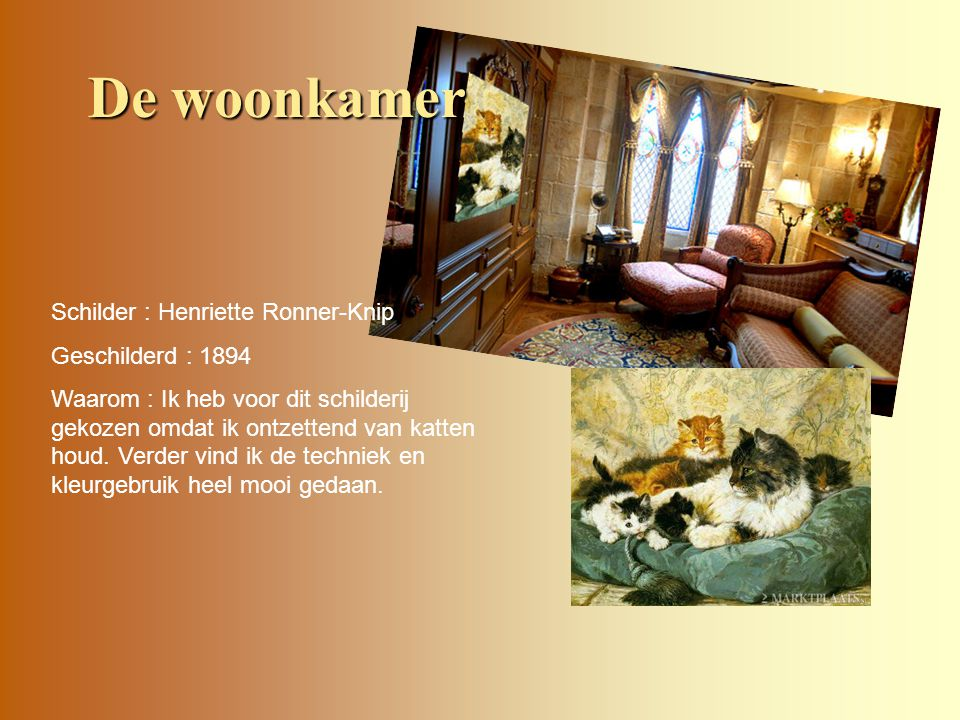 De woonkamer Schilder : Henriette Ronner-Knip Geschilderd : 1894