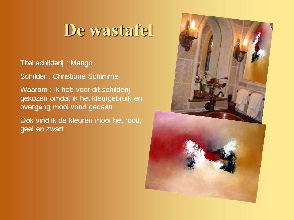 De wastafel Titel schilderij : Mango Schilder : Christiane Schimmel
