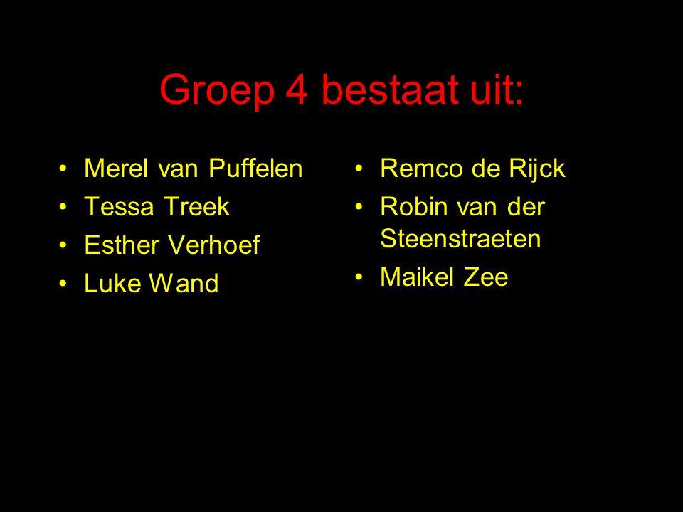 Groep 4 bestaat uit: Merel van Puffelen Tessa Treek Esther Verhoef