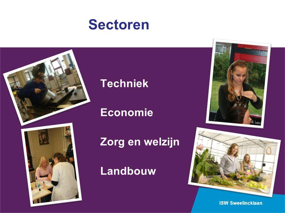 Sectoren Techniek Economie Zorg en welzijn Landbouw