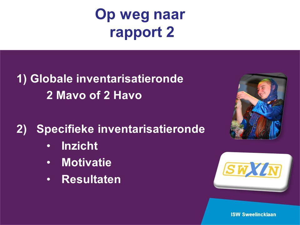 Op weg naar rapport 2 1) Globale inventarisatieronde 2 Mavo of 2 Havo