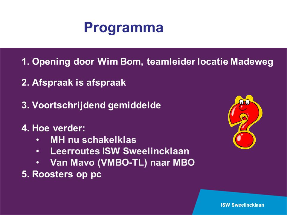 Programma 1. Opening door Wim Bom, teamleider locatie Madeweg