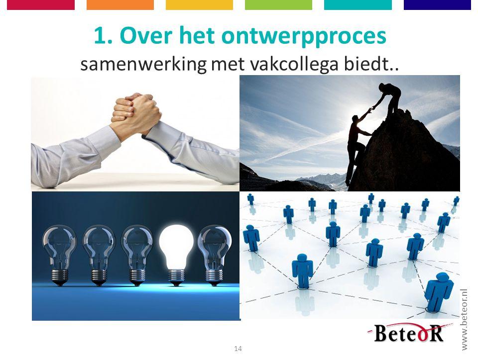 1. Over het ontwerpproces samenwerking met vakcollega biedt..
