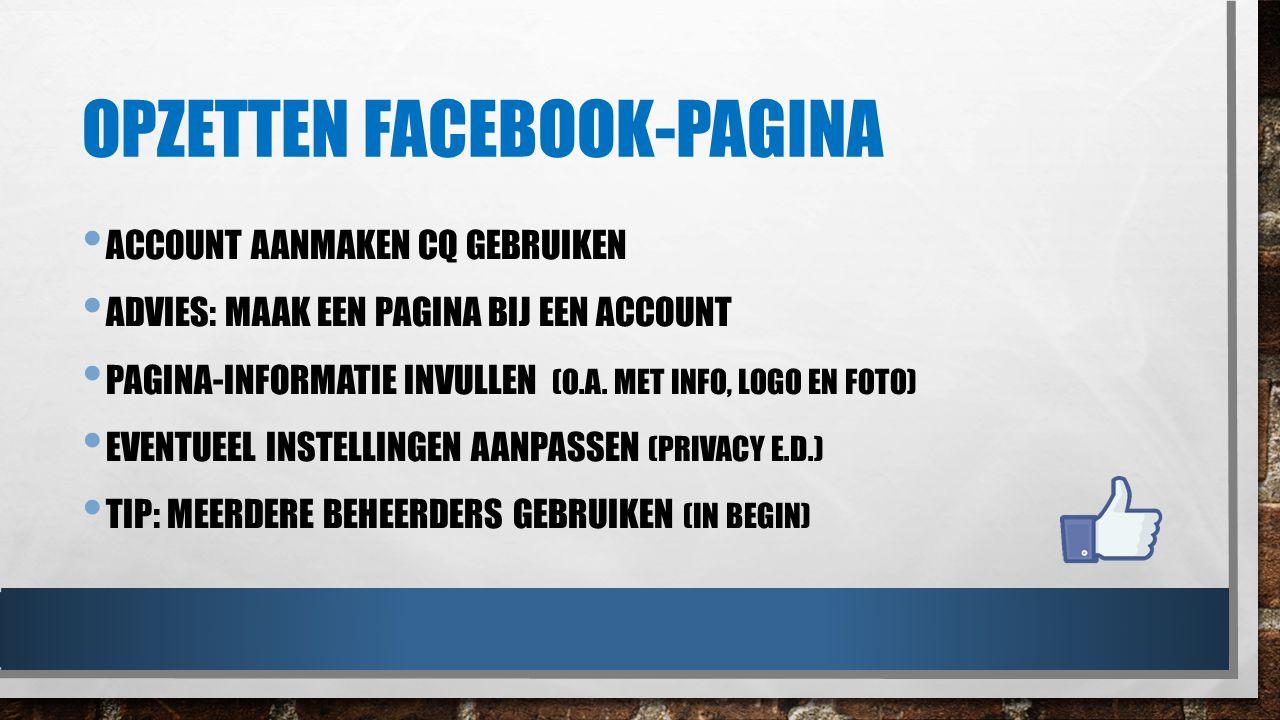 Opzetten facebook-pagina