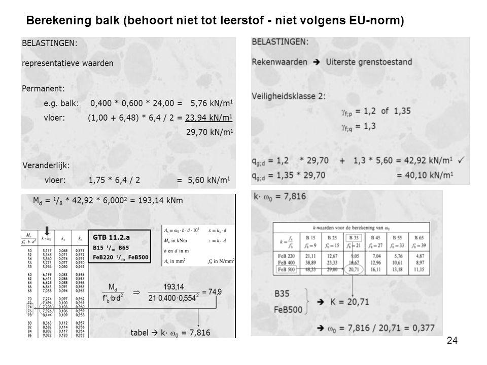 Berekening balk (behoort niet tot leerstof - niet volgens EU-norm)