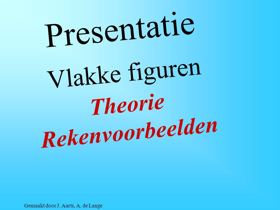Presentatie Vlakke figuren Theorie Rekenvoorbeelden