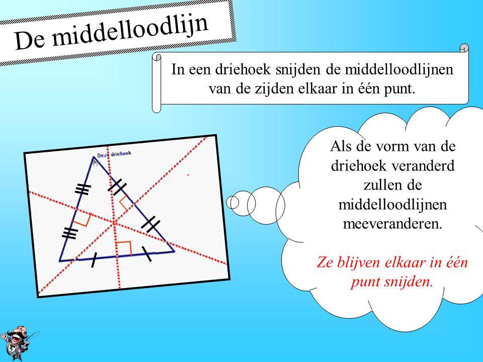 De middelloodlijn ∟ In een driehoek snijden de middelloodlijnen