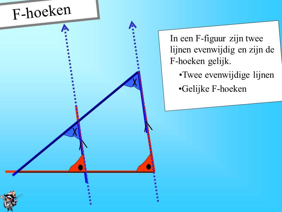 F-hoeken In een F-figuur zijn twee lijnen evenwijdig en zijn de F-hoeken gelijk. Twee evenwijdige lijnen.