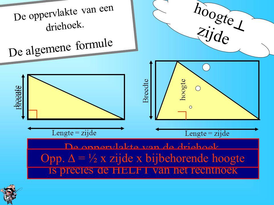 De oppervlakte van een driehoek. hoogte ┴ zijde