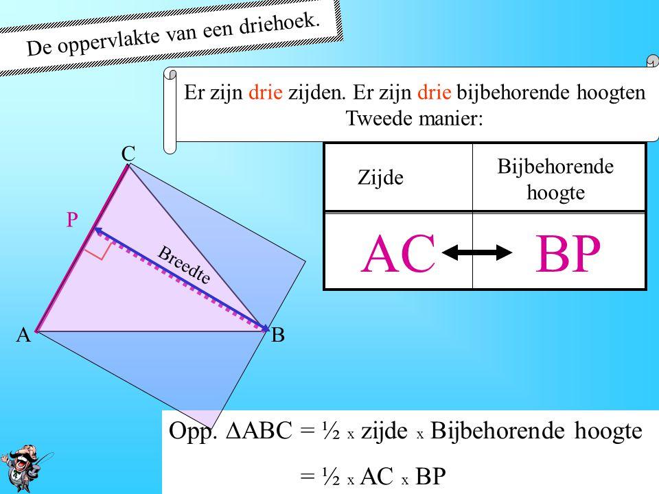AC BP ∟ De oppervlakte van een driehoek.