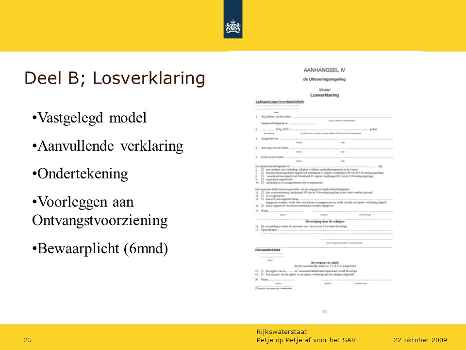 Deel B; Losverklaring Vastgelegd model Aanvullende verklaring
