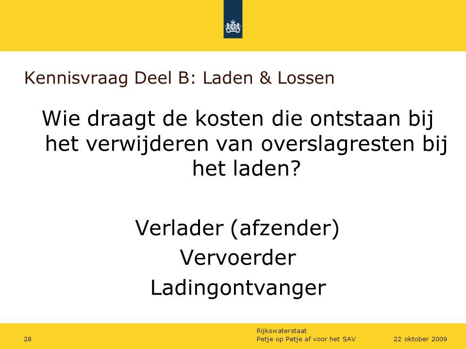 Kennisvraag Deel B: Laden & Lossen