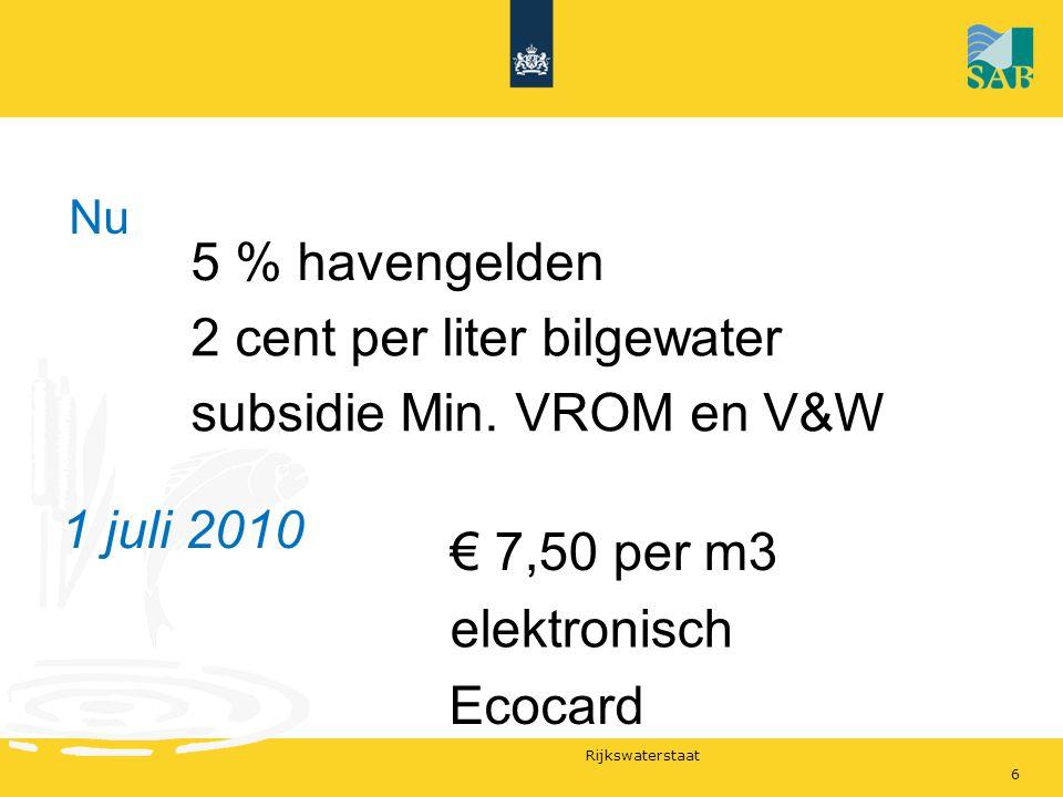 2 cent per liter bilgewater subsidie Min. VROM en V&W