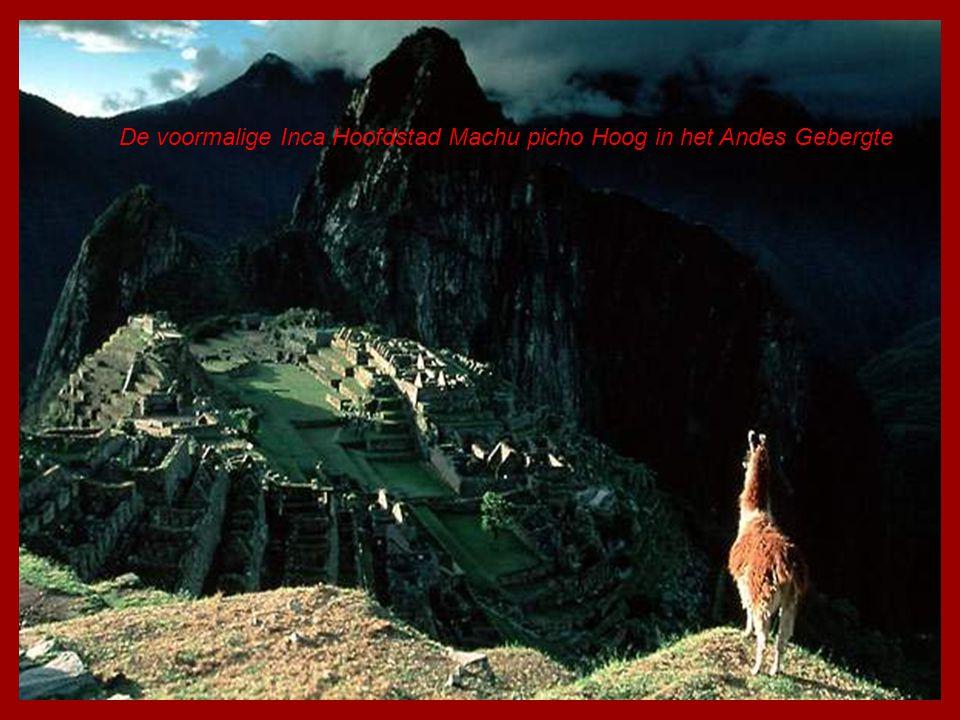 De voormalige Inca Hoofdstad Machu picho Hoog in het Andes Gebergte