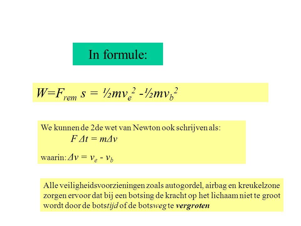 In formule: W=Frem s = ½mve2 -½mvb2 F Δt = mΔv