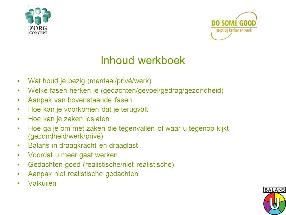 Inhoud werkboek Wat houd je bezig (mentaal/privé/werk)