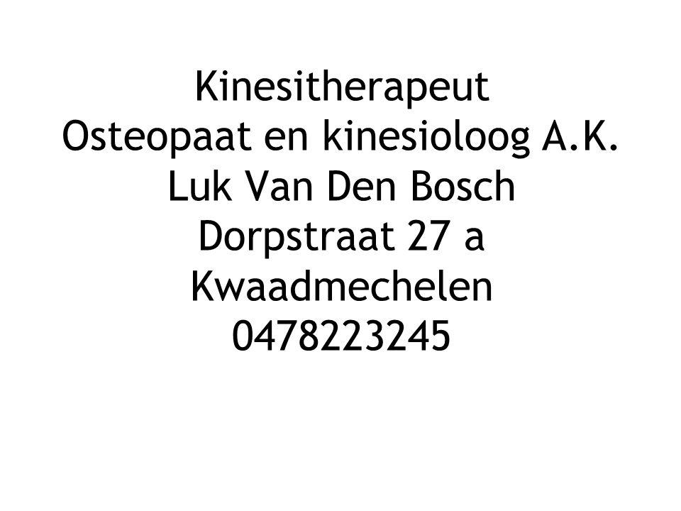 Kinesitherapeut Osteopaat en kinesioloog A. K