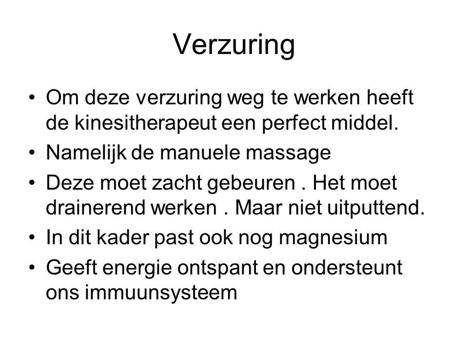 Verzuring Om deze verzuring weg te werken heeft de kinesitherapeut een perfect middel. Namelijk de manuele massage.