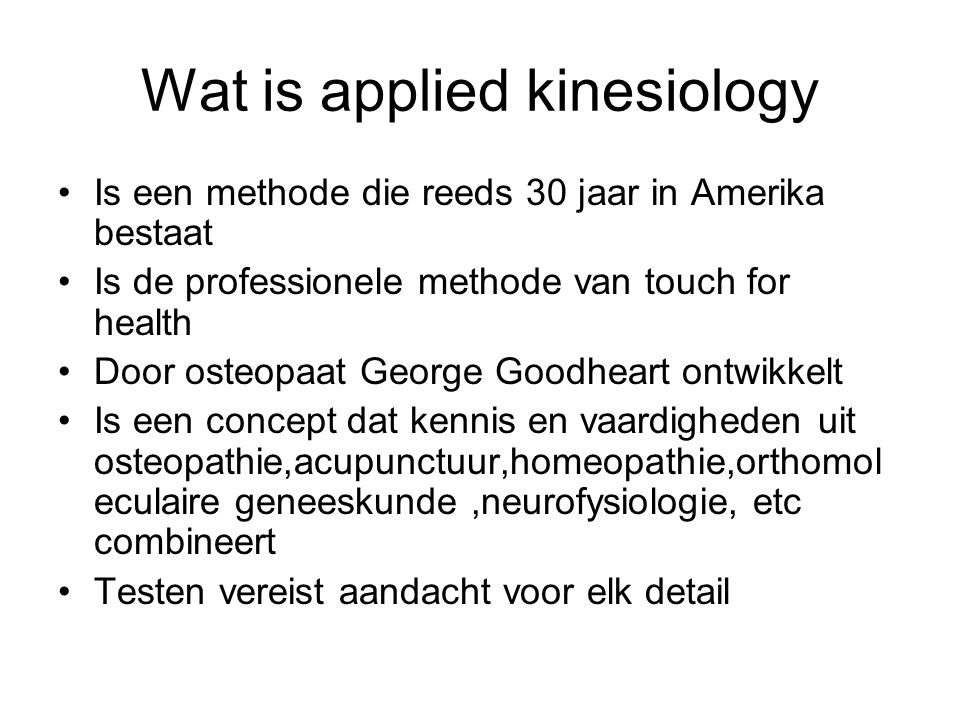 Wat is applied kinesiology