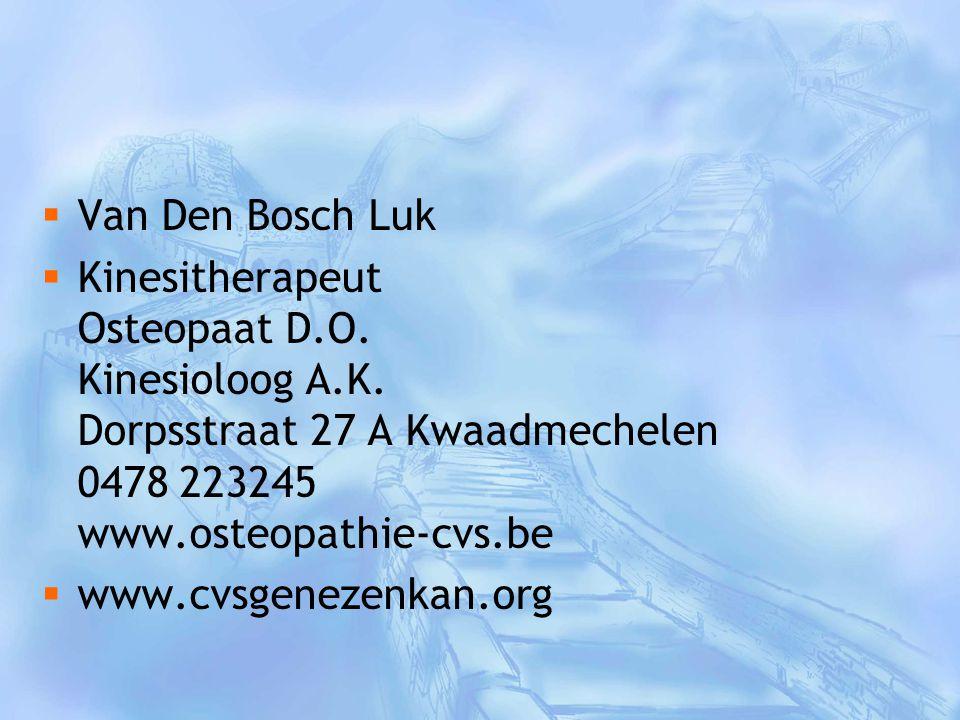Van Den Bosch Luk Kinesitherapeut Osteopaat D.O. Kinesioloog A.K. Dorpsstraat 27 A Kwaadmechelen 0478 223245 www.osteopathie-cvs.be.