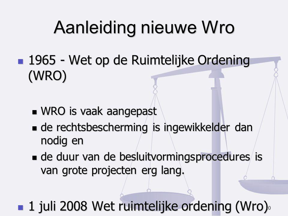 Aanleiding nieuwe Wro 1965 - Wet op de Ruimtelijke Ordening (WRO)