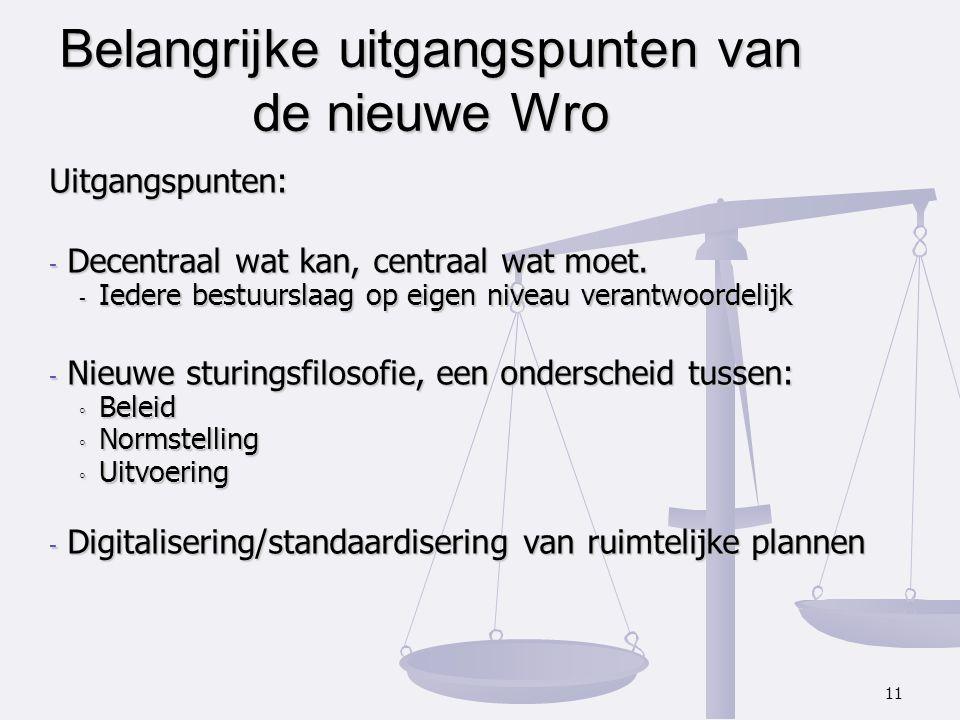 Belangrijke uitgangspunten van de nieuwe Wro