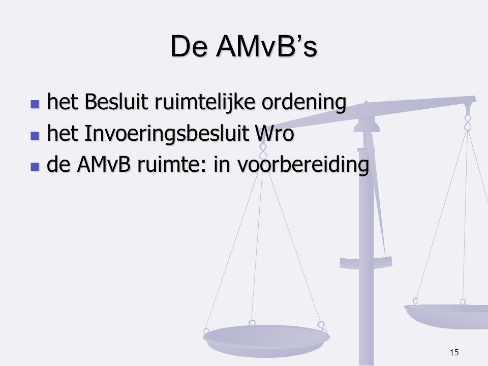 De AMvB's het Besluit ruimtelijke ordening het Invoeringsbesluit Wro