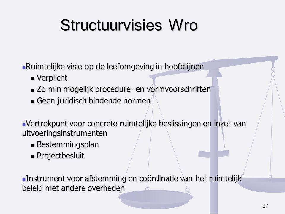 Structuurvisies Wro Ruimtelijke visie op de leefomgeving in hoofdlijnen. Verplicht. Zo min mogelijk procedure- en vormvoorschriften.