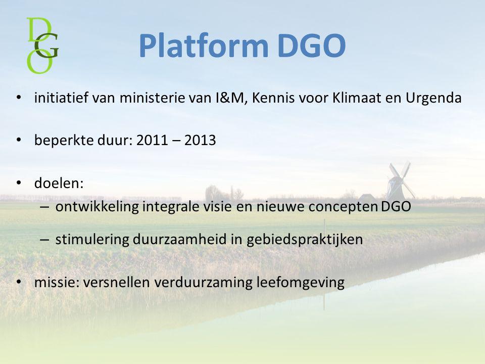 Platform DGO initiatief van ministerie van I&M, Kennis voor Klimaat en Urgenda. beperkte duur: 2011 – 2013.