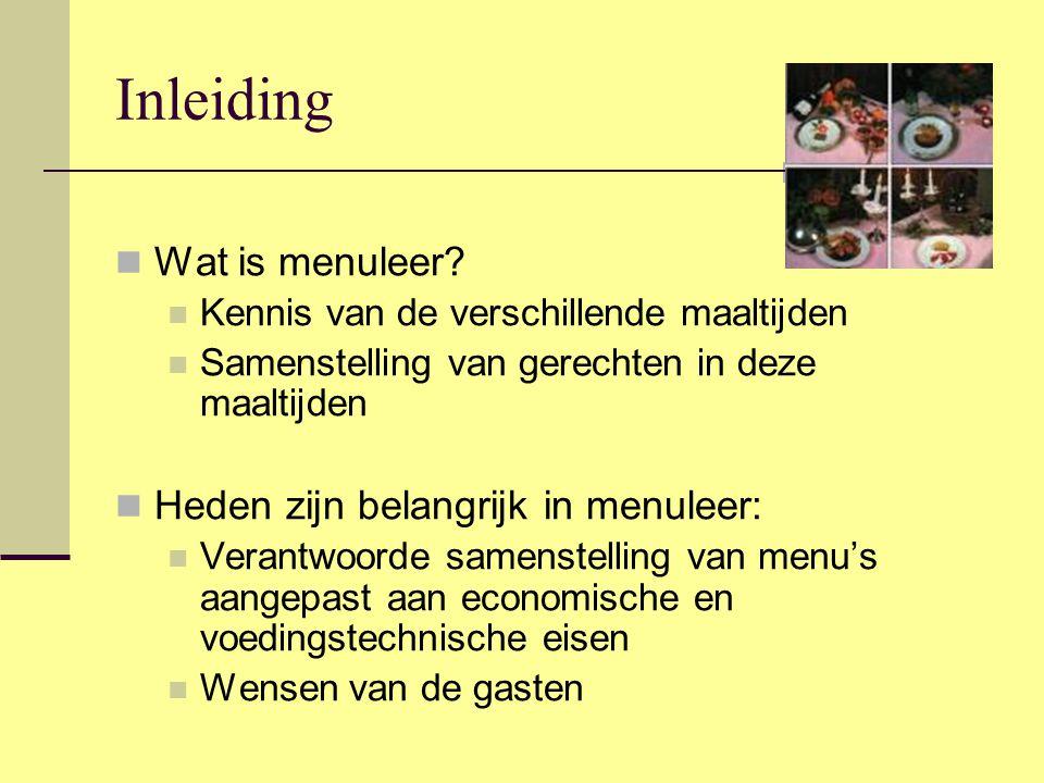 Inleiding Wat is menuleer Heden zijn belangrijk in menuleer: