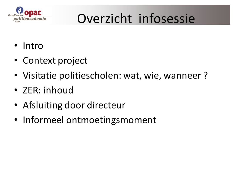 Overzicht infosessie Intro Context project