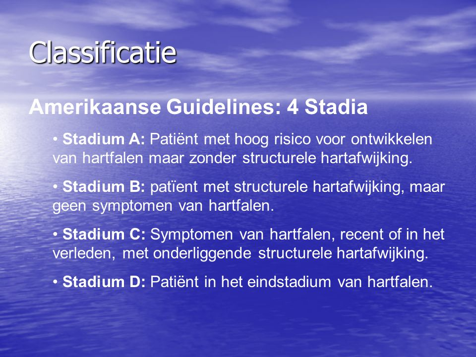 Classificatie Amerikaanse Guidelines: 4 Stadia