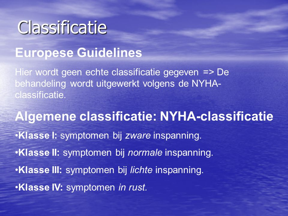 Classificatie Europese Guidelines