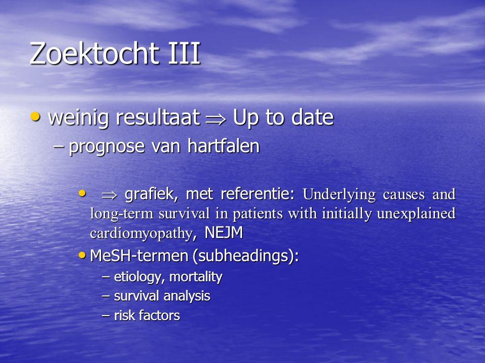 Zoektocht III weinig resultaat  Up to date prognose van hartfalen