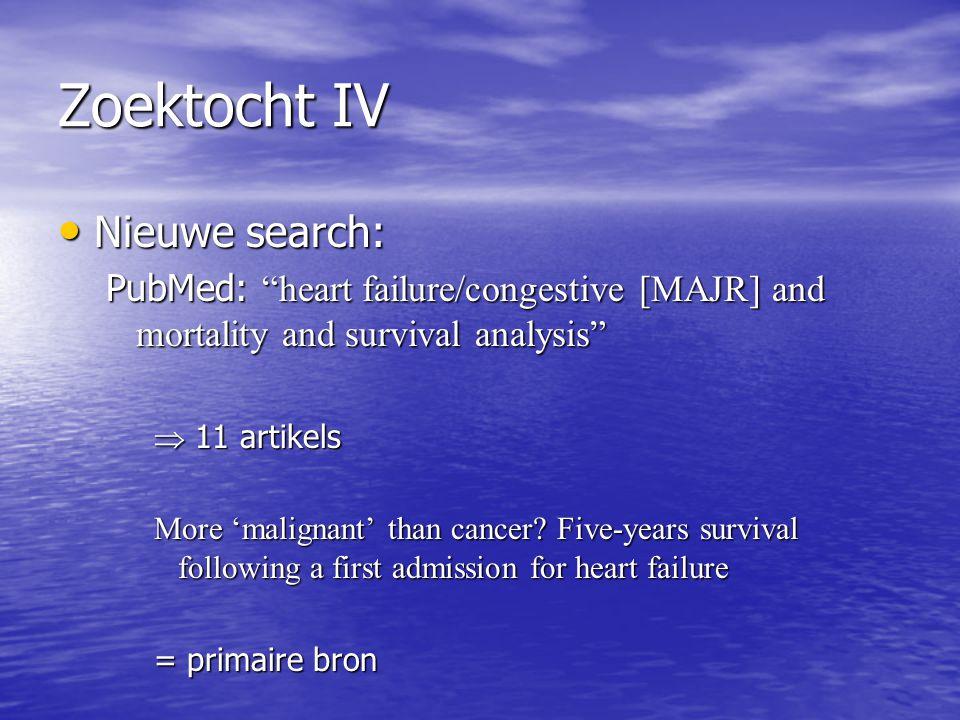 Zoektocht IV Nieuwe search: