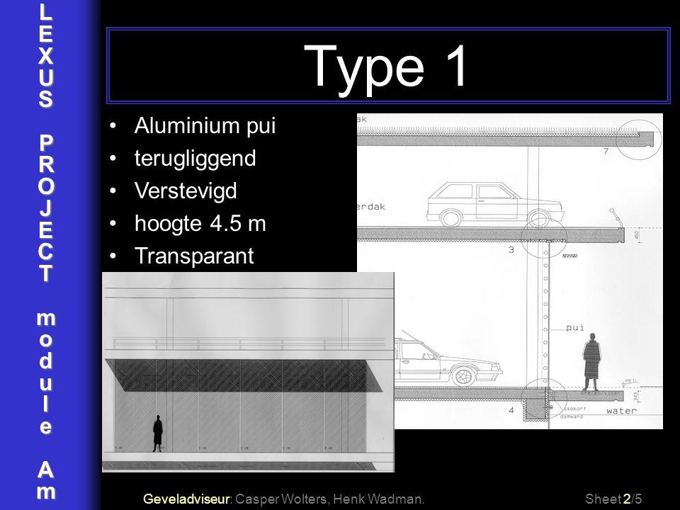 Type 1 L E X U S P R O J Aluminium pui C terugliggend T Verstevigd m