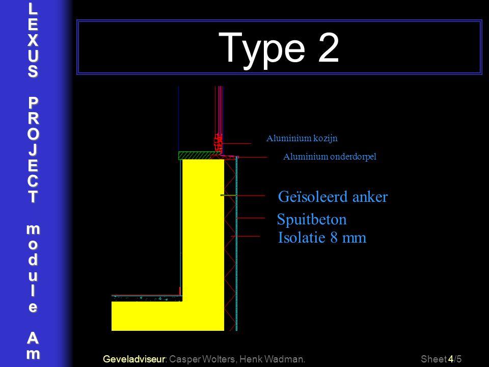 Type 2 L E X U S P R O J C T m o d u l e A Geïsoleerd anker Spuitbeton