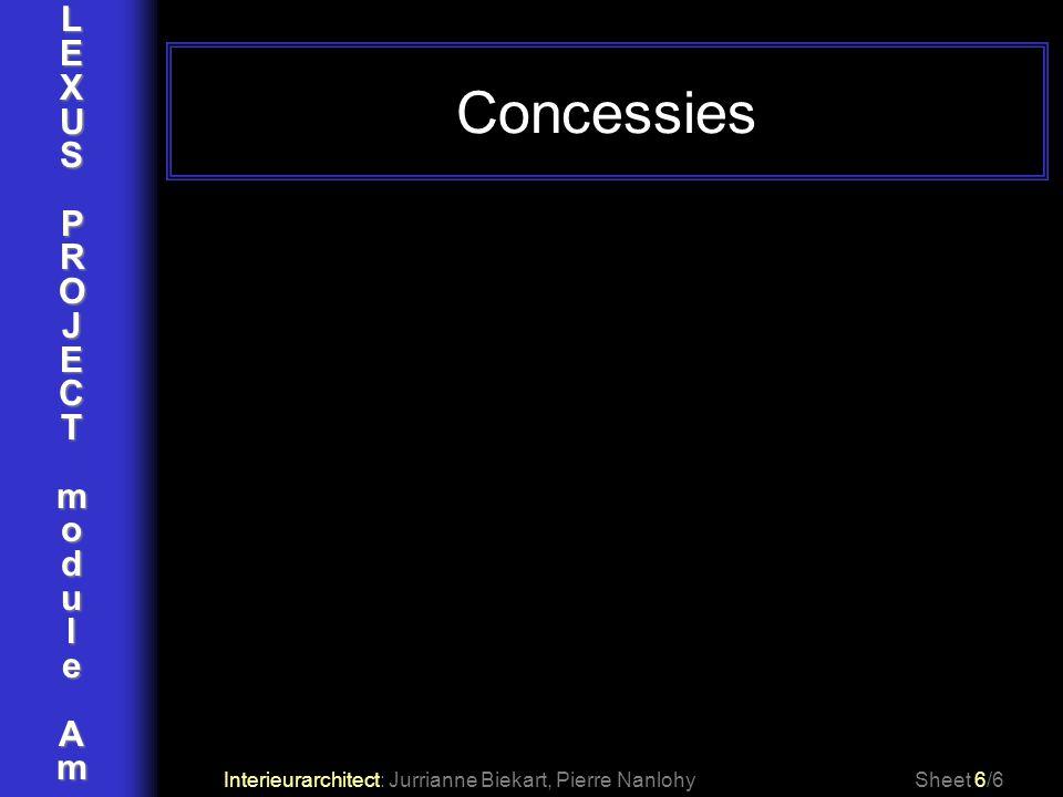 Concessies L E X U S P R O J C T m o d u l e A