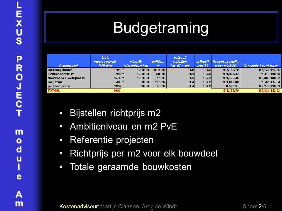 Budgetraming L E X U S P R O J C T m o d u l e A