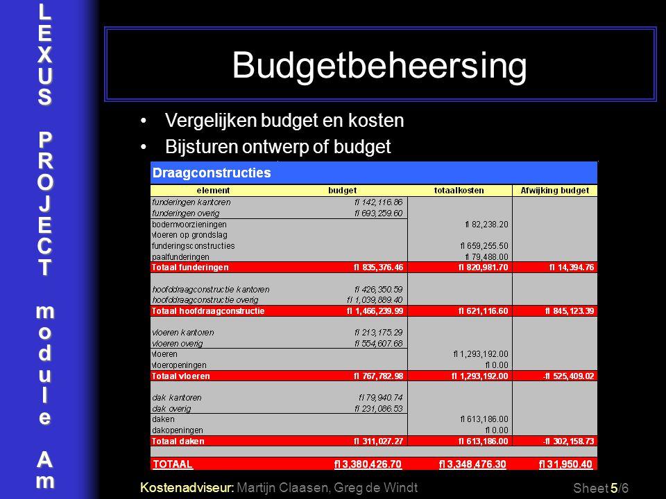 Budgetbeheersing L E X U S P R O J C T m o d u l e A