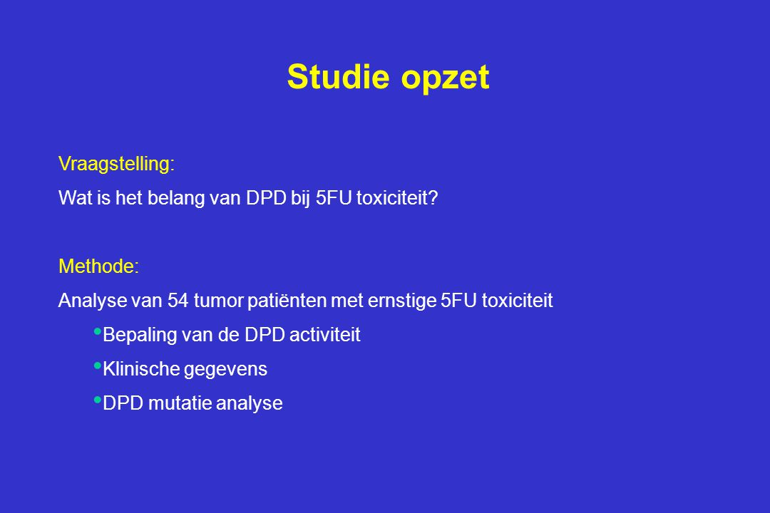 Studie opzet Vraagstelling: